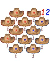 Set of 12 Straw Sheriff Cowboy Hats, for Kids Boys, Sheriff Costume, by