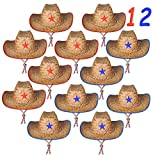4E's Novelty Set of 12 Straw Sheriff Cowboy Hats, for Kids Boys, Sheriff Costume, by