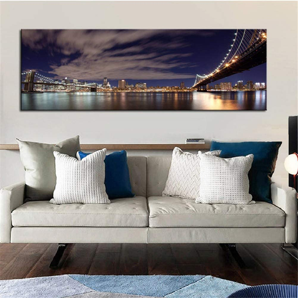 Diamond Painting Full Kit Pintura de Diamantes 5D DIY Completo Grande Nueva York Brooklyn Punto de Cruz Bordado de Diamantes de Imitación de Cristal para Decor pared del Hogar 70x180cm A4086