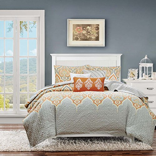 Madison Park Nisha 6 Piece Reversible Coverlet Set Orange Full/Queen -