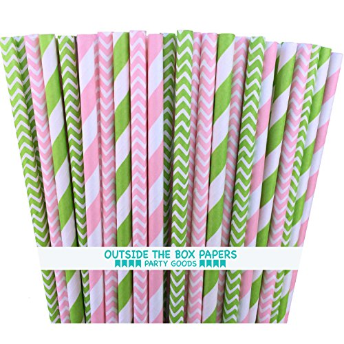 (Outside the Box Papers Lime Green and Pink Chevron and Stripe Paper Straws 7.75 Inches 100 Pack Lime Green, Pink, White)