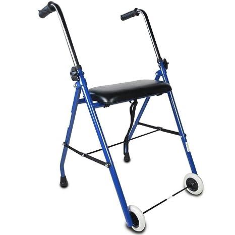Andador para ancianos, Plegable, Asiento, 2 ruedas, Azul ...