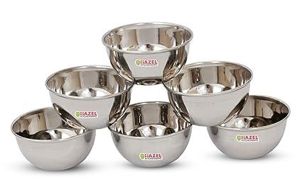 HAZEL Steel Vatti/Bowl - 6 Pcs Set - Large