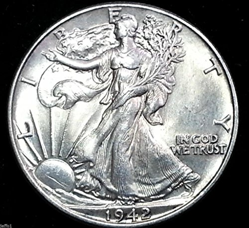 - 1942 Walking Liberty Half Dollar 90% Silver US Coin MS/BU Fifty Cents .50 Half Dollar Choice Brilliant Uncirculated