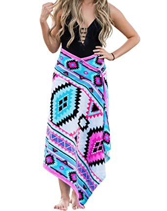 3abe6aad85 Simple Sarongs Women's Beach Towel Swimsuit Cover-up Wrap One Size Aztec