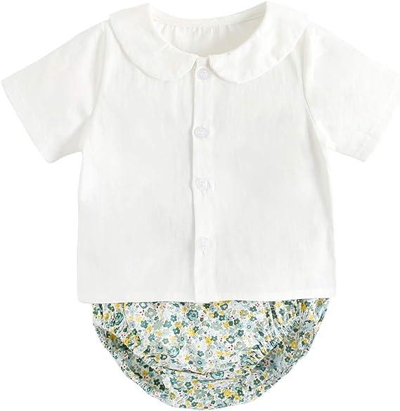 Flores Pantalones cortos 2 piezas Sanlutoz Verano Algod/ón Beb/é juegos de ropa Reci/én nacido Manga corta Beb/é Camisetas