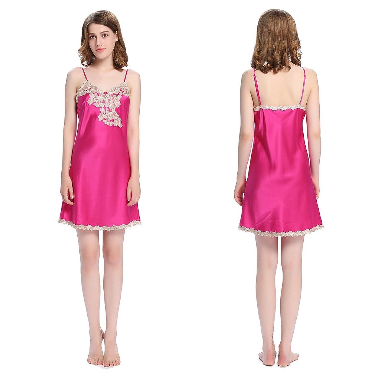 Lilysilk Charment Seide Nachthemd Nachtkleid Damen mit Spitzen 22 Momme