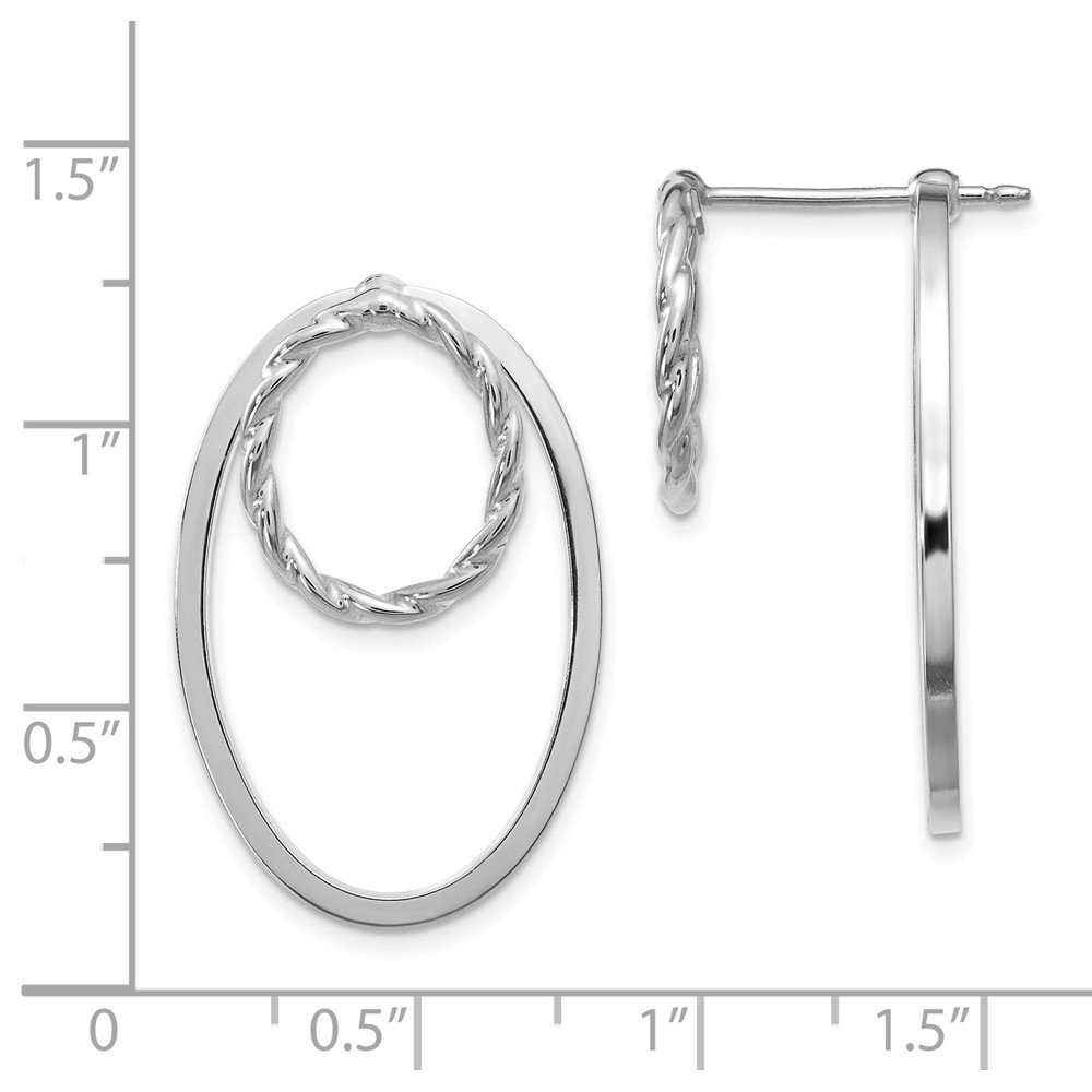 Leslies Real 14kt White Gold Polished Textured 3 in 1 Front and Back Earrings