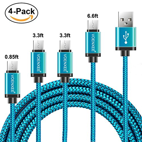 USB Type C Cable VOENXEE [4-Pack 0.85FT 3.3FTx2 6.6FT ] Nylon Braided USB C Type-C Fast Charger Data Cord Line For Samsung Galaxy Note 8 S8 Plus LG V20 V30 G5 G6 HTC 10 Nexus 5X 6P ZTE Zmax Pro (Blue) (Mi Ft 1)