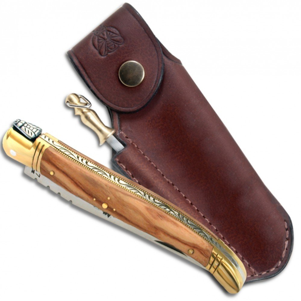 Laguiole folding knife with Olive Wood handle, 12 cm + Finest quality leather sheath with sharpener direct from France