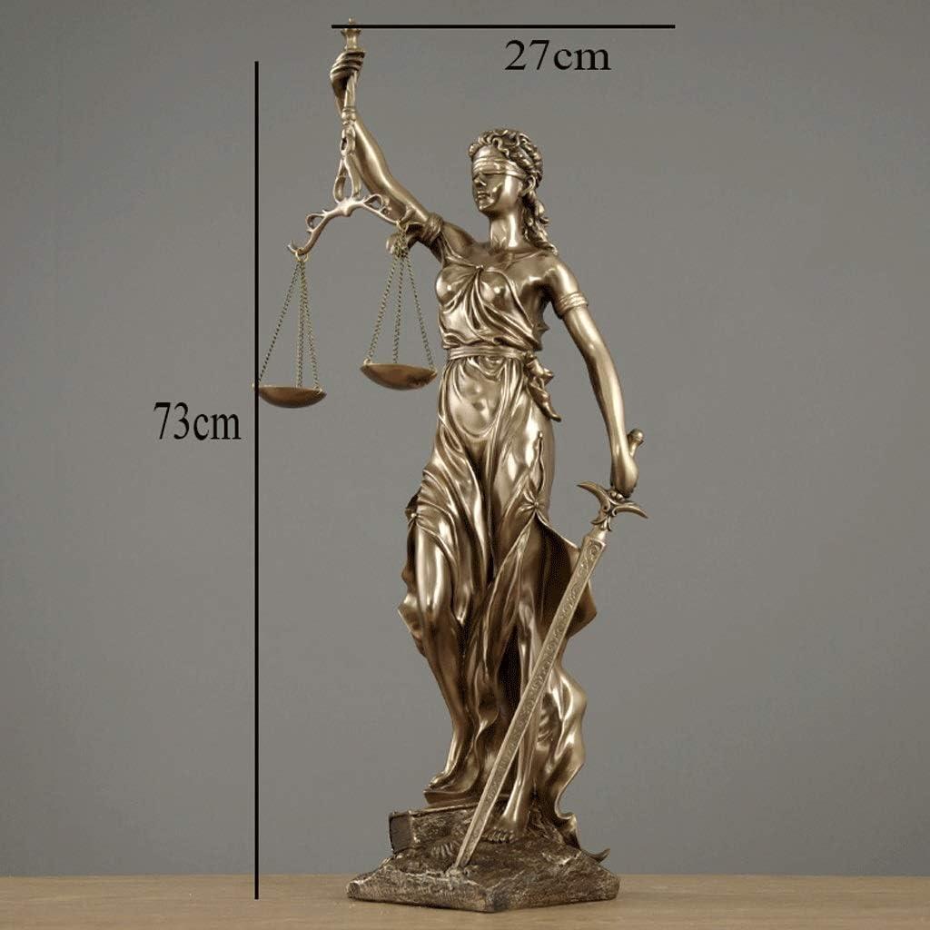 Estatua de Justicia Ciega Doblada Ciega En Bronce Fundido - Diosa Romana De La Justicia Escultura Llevando Las Escalas De Justicia Y Swor (Tamaño : L27×H73CM): Amazon.es: Hogar