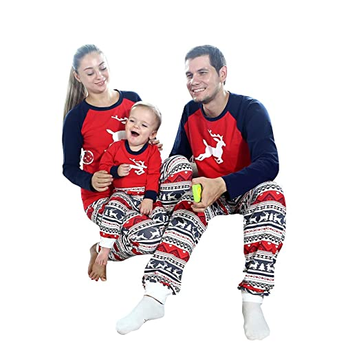 dfe4577cc2 Forart Christmas Elk Family Matching Pajamas Set Holiday Sleepwear Sets at  Amazon Women s Clothing store