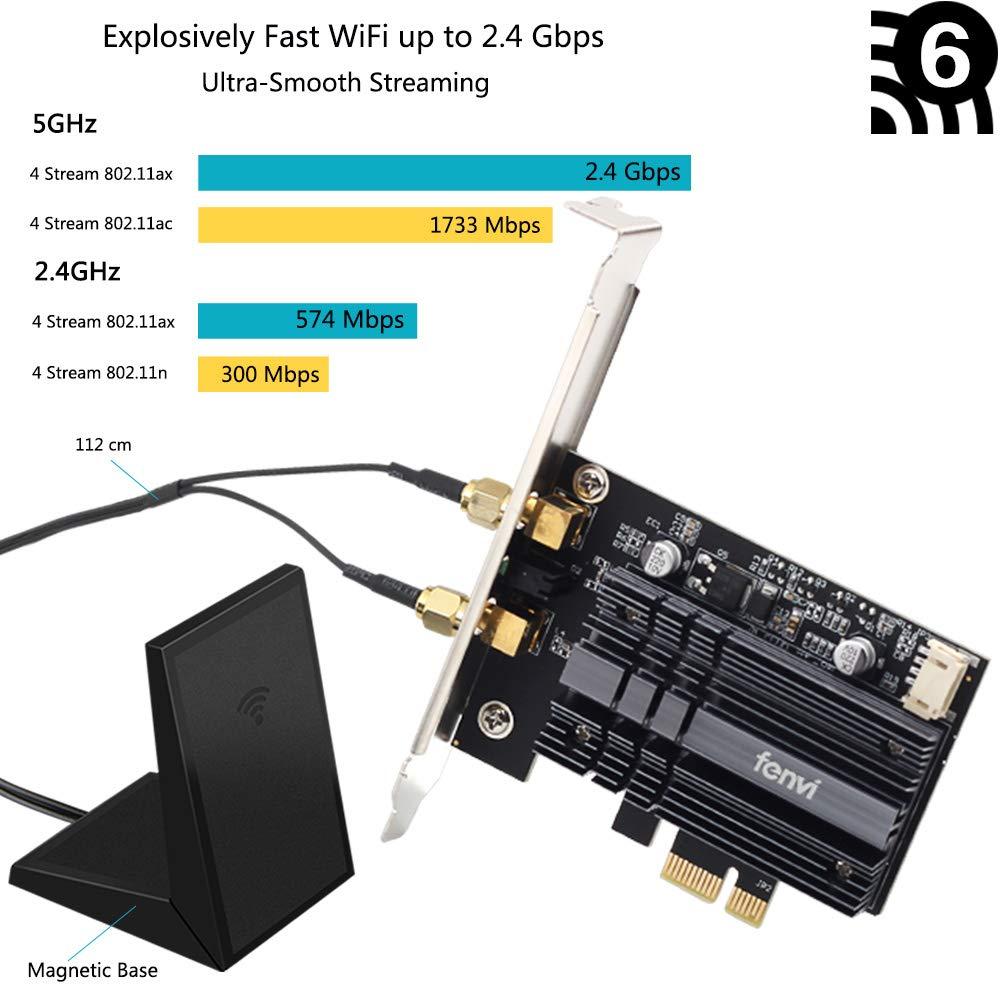 fenvi Tarjeta PCIe Wifi Wi-Fi de próxima generación 6 MU-MIMO OFDMA AX200 Adaptador PCI 802.11ax wifi 6 para PC Red Tarj