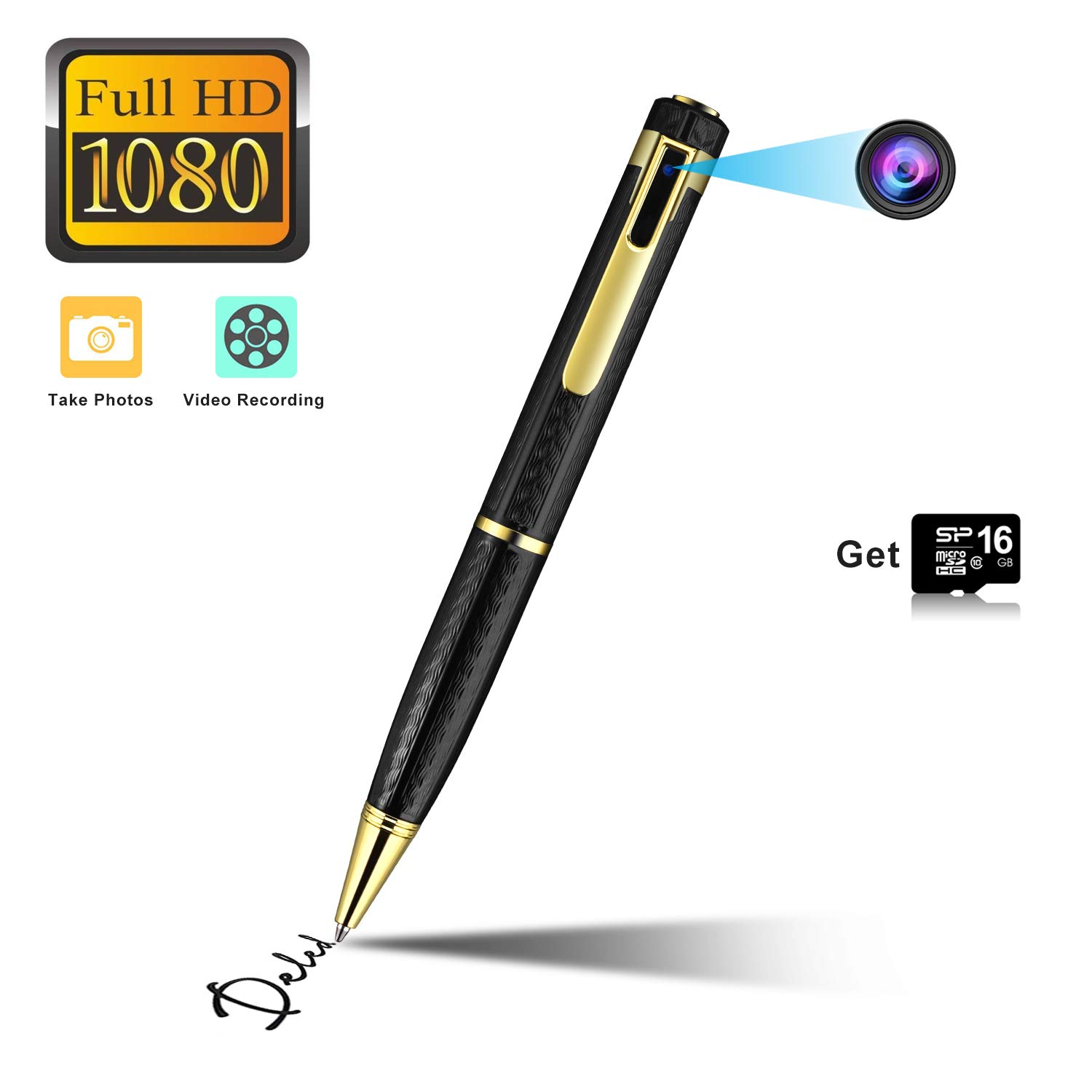 Hidden Camera Spy Camera Pen HD 1080P Camcorder Portable with 16GB Memory Card Pocket Cam Covert Camera for Business and Conference (Black)