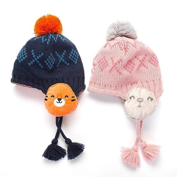 Amorar Cappelli per Bambini Sciarpe Set Baby Berretto in Maglia Invernale  Cappello Beanie Carino Cappello con Paraorecchie Loop Sciarpa Scaldacollo  con ... 046206ede0fb
