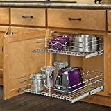 Rev-A-Shelf 15-inch Pullout 2 Tier Wire Basket Cookware Cabinet Organizer Chrome