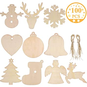 100pcs Christmas Decorations Paper Tag Blank Craft Ornaments DIY Hanging Pendant