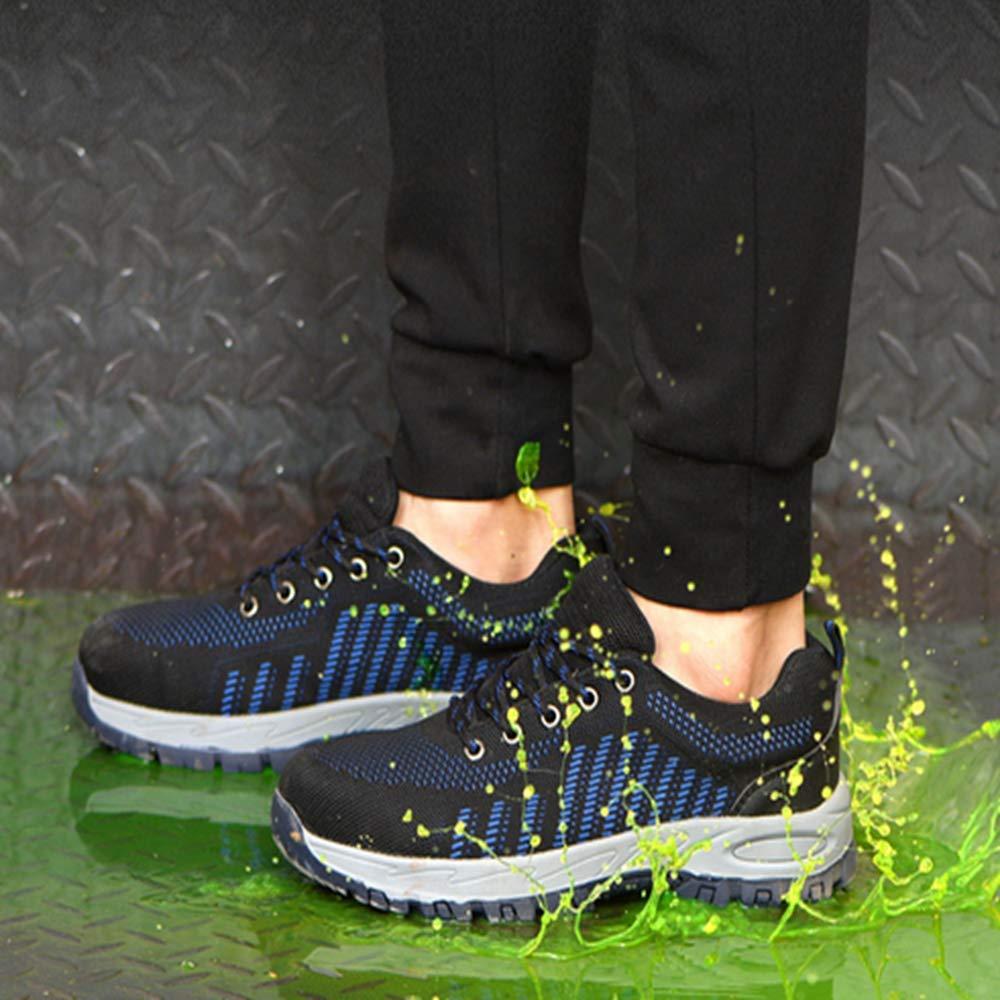 KINGLEN Steel Toe Breathable Industrial Construction Shoes for Men Women Weaving Work Safety Shoes (8 Women / 6.5 Men, Blue) by KINGLEN (Image #4)