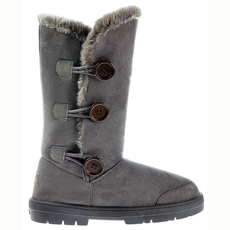 Ella Women's Triple 3 Button Fully Fur Lined Flat Winter Boot - Chestnut Brown, Black, Dark, Brown UK8 - EU41 - US10 - AU9 Grey