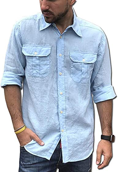 Mens Ethnic Style Blouse Men Casual Slim Long Sleeve Button Down Dress Shirt Cargo Tops by-NEWONESUN