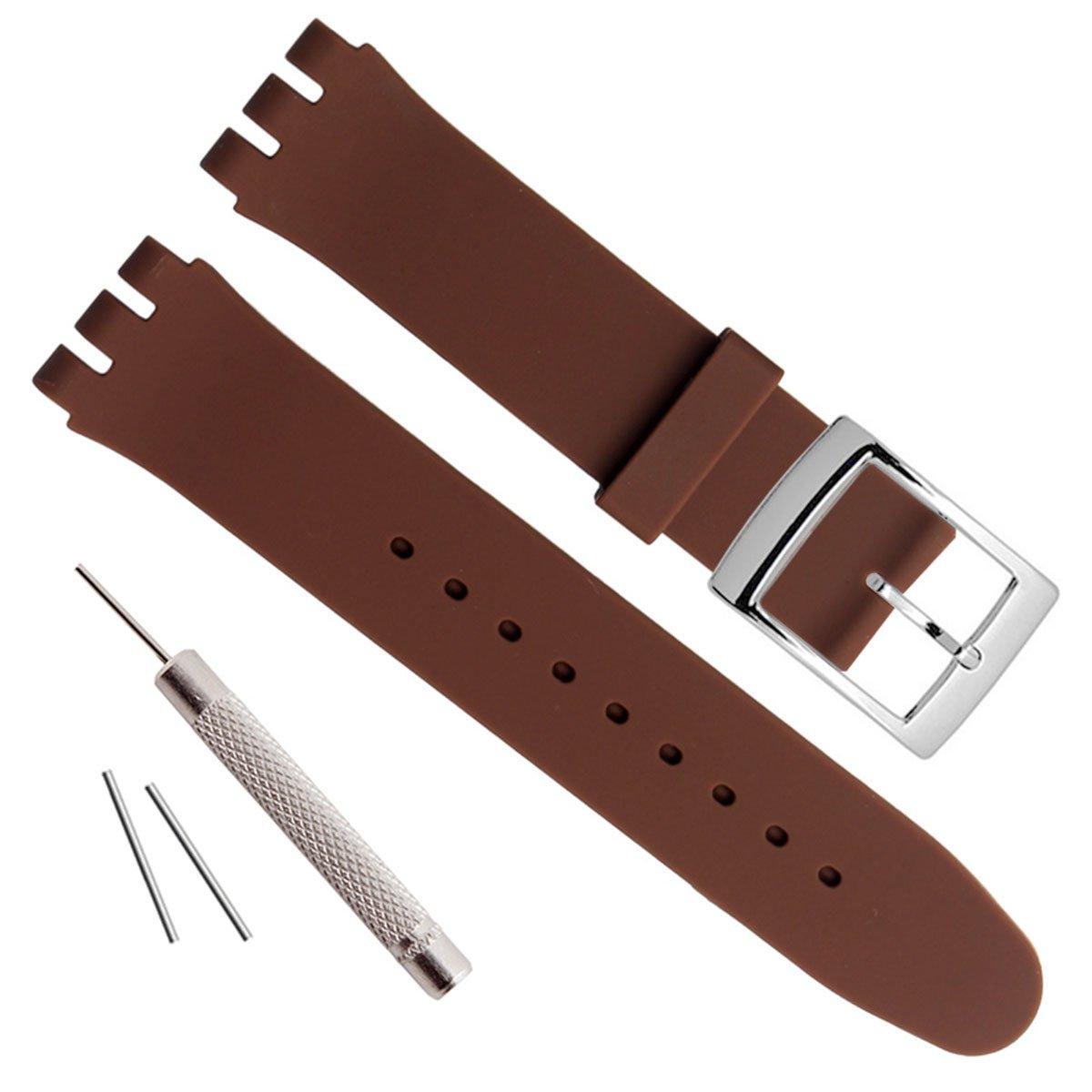 シルバーメッキステンレススチールバックル防水シリコンラバー腕時計ストラップ時計バンド 17mm ブラウン 17mm ブラウン ブラウン 17mm B0777HDXW4