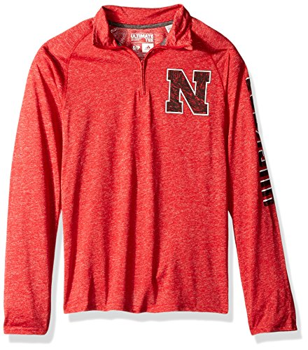 NCAA Nebraska Cornhuskers Adult Men White Noise Casual Ultimate 1/4 Zip Tee, Large, Power Red Heathered (Mens Cornhuskers Nebraska Basketball)