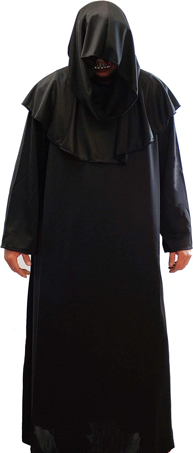 Boys Terror Grim Reaper Hooded Costume Halloween Horror Fancy Dress Outfit Scary