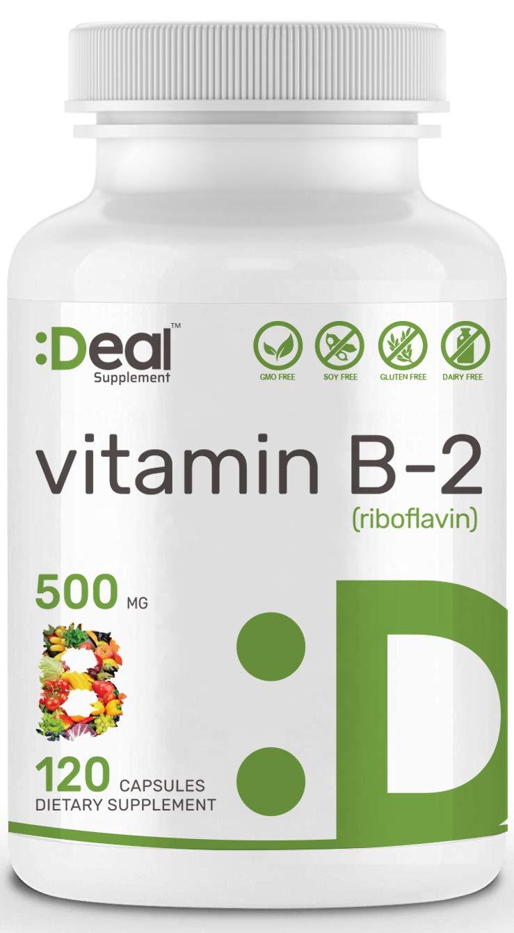 Deal Supplement Vitamin B2 (Riboflavin), 500mg, 120 Capsules, Non-GMO, Made in USA. by Eagleshine Vitamins