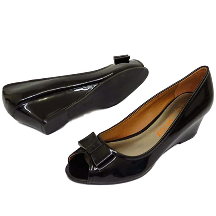 HeelzSoHigh Ladies Black Patent Slip-On Low Wedge Heel Work Smart Court Peep -Toe Shoes Sizes 5-9: Amazon.co.uk: Shoes & Bags