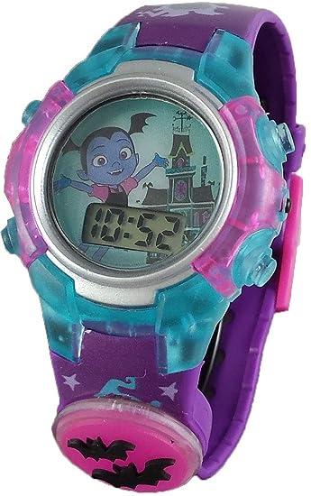 Amazon.com: Disney Vampirina Girls Purple Digital Light Up Watch w/Flashing Charm VMP4022: Watches