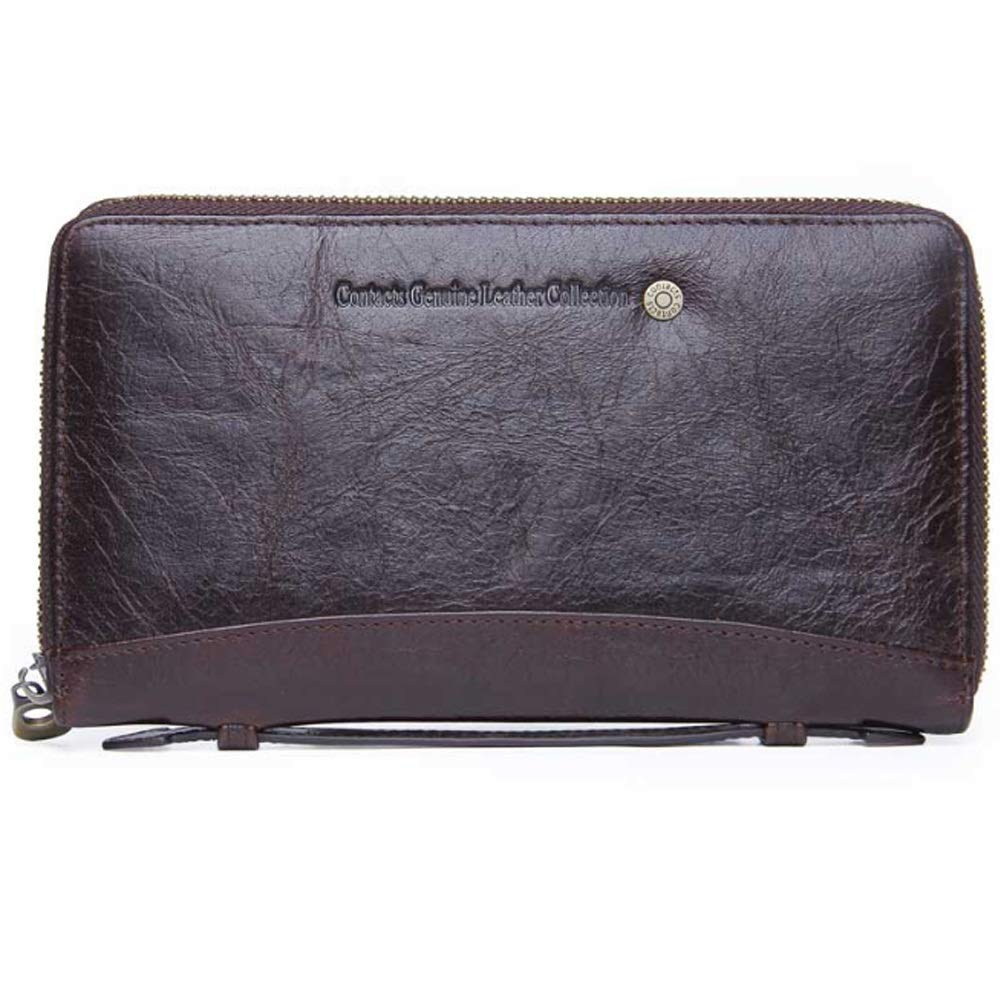 Color : Brown, Size : S Shengjuanfeng Mens Wallet Leather Fashion Multi-Function Leather Business Clutch
