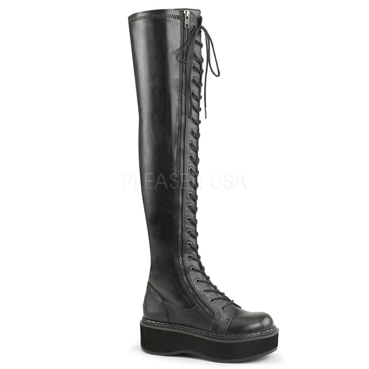 Demonia Women's Emily-375 Over The Knee Boot, Black Str Vegan Leather, 7 M US