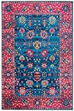 Mylife Rugs Imperia Collection Traditional Vintage Non Slip (Non-Skid) Machine Washable Distressed Area Rug (3'x5′, Blue – Red) Review