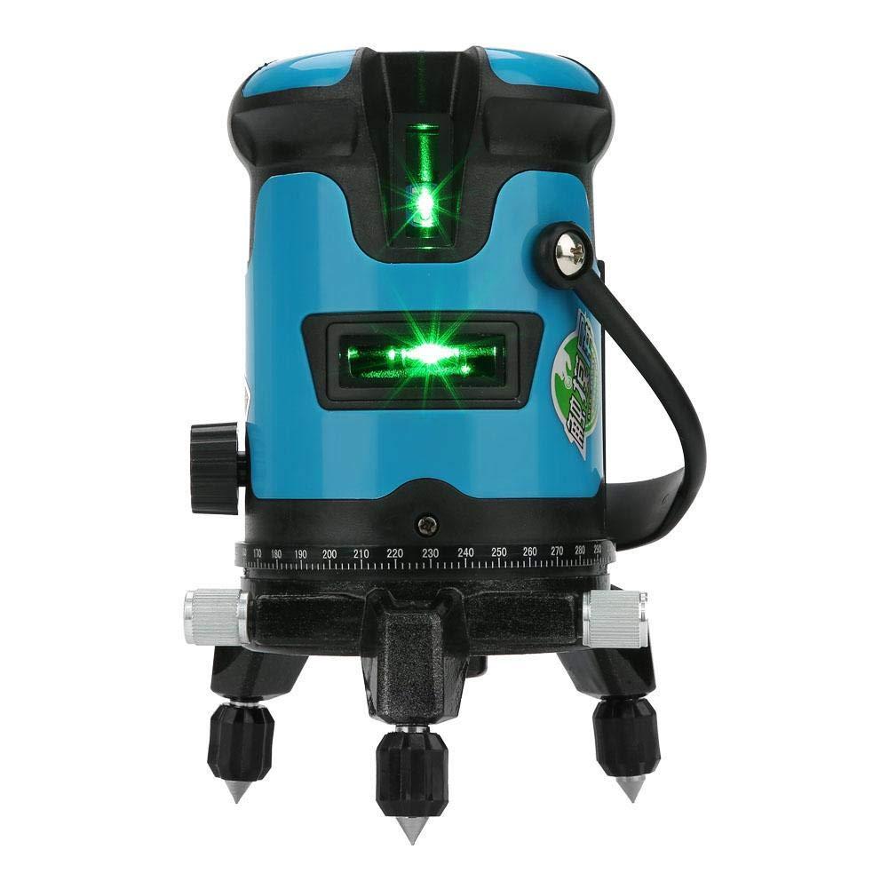 Akozon Nivel L/áser Autonivelante L/ínea Verde 360 grados Vertical Cruz con Posicionamiento Punto L/áser de Tierra Interior y Exterior Azul claro 3 l/íneas