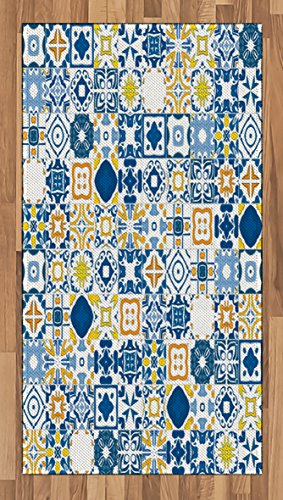 Ambesonne Rug Yellow Blue, Mosaic Portuguese Azulejo Mediterranean Arabesque Effect, Flat Woven Accent Rug Living Room Bedroom Dining Room, 4 x 6 FT, Violet Blue Mustard White