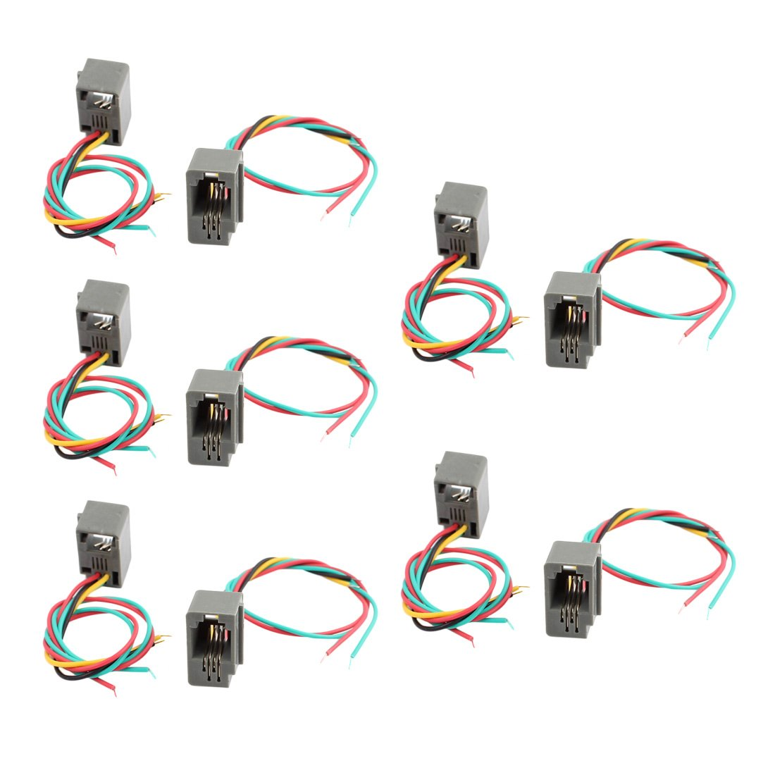 10Pcs 616E 4P4C RJ9 Female Telephone Connector Adapter with 4 Wires  new.
