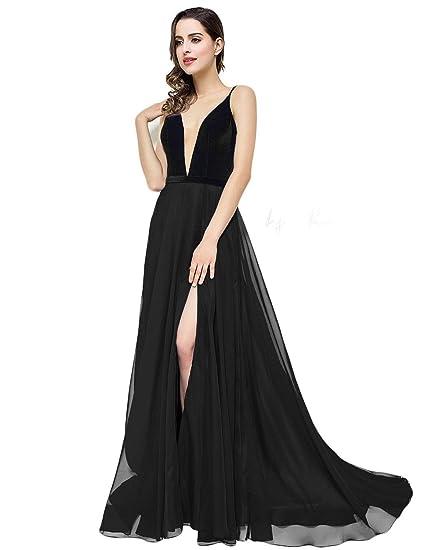 2c7308d5b9 Elinadrs Women s Long Plunge V Neck Velvet Evening Dress with Split Formal  Chiffon Prom Party Gowns