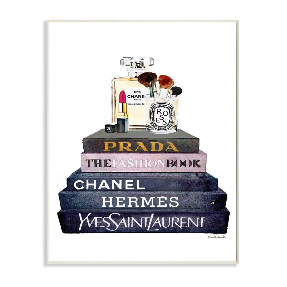 Stupell Industries Glam Fashion Book Set With Makeup Wall Plaque Art, Proudly Made in USA