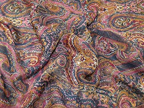 Lady McElroy Persian Paisley 100% Silk Crinkle Chiffon Dress Fabric Multi - per metre