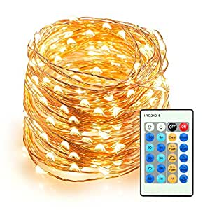 SAIBANG 33 ft 100 LEDs String Light with Remote Control, Copper Wire String Lights for Indoor/Outdoor Home Garden Party Wedding Christmas Decorations (Warm White)