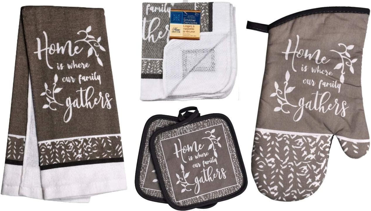 TopNotch Outlet Family Kitchen Decor - Oven Mitts - Towel Linen Set (6 Pc) Home is Where Our Familiy Gathers - Kitchen Towel Potholders Scrubber Dishcloths Oven Mitt - Kitchen Decorations