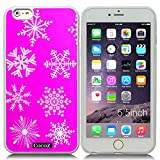 New Apple iPhone 6 s Plus 5.5-inch CocoZ® Case Beautiful Christmas Snow TUP Material Case (Rose Pink&Transparent TPU Snowflake 13)