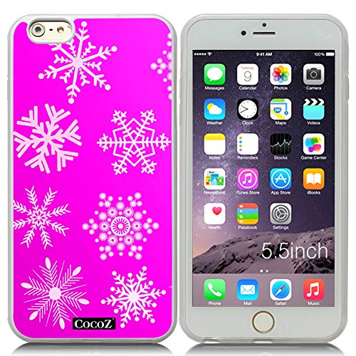 Price comparison product image New Apple iPhone 6 s Plus 5.5-inch CocoZ® Case Beautiful Christmas Snow TUP Material Case (Rose Pink&Transparent TPU Snowflake 13)