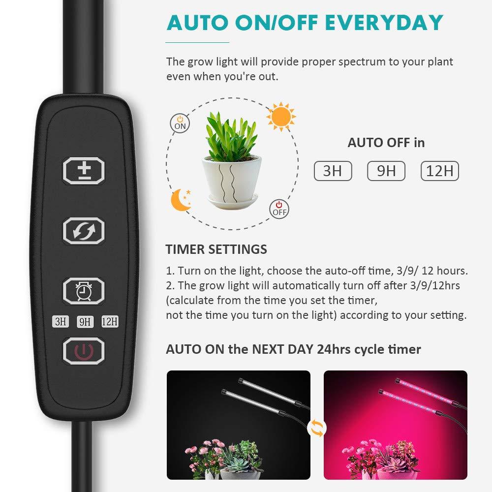 NotoCity 20W Pflanzenlicht mit Automatischer Ein- Verstellbarer Schwanenhals mit St/änder f/ür Zimmerpflanzen(20 Watt) 2-Kopf-LED-Pflanzenlicht mit 10 Dimmbaren Leuchtstufen Ausschaltfunktion