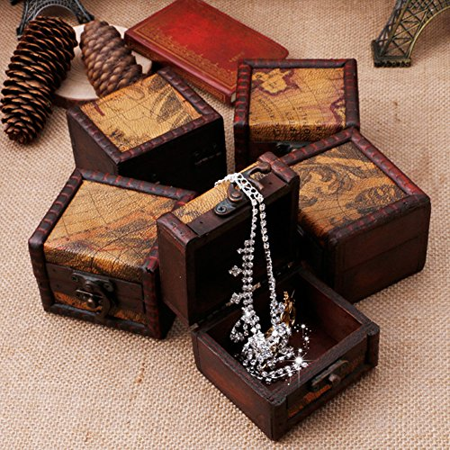 Amrka Vintage Wooden Map Storage Box Case Jewellery Cufflinks Chest Small Gift