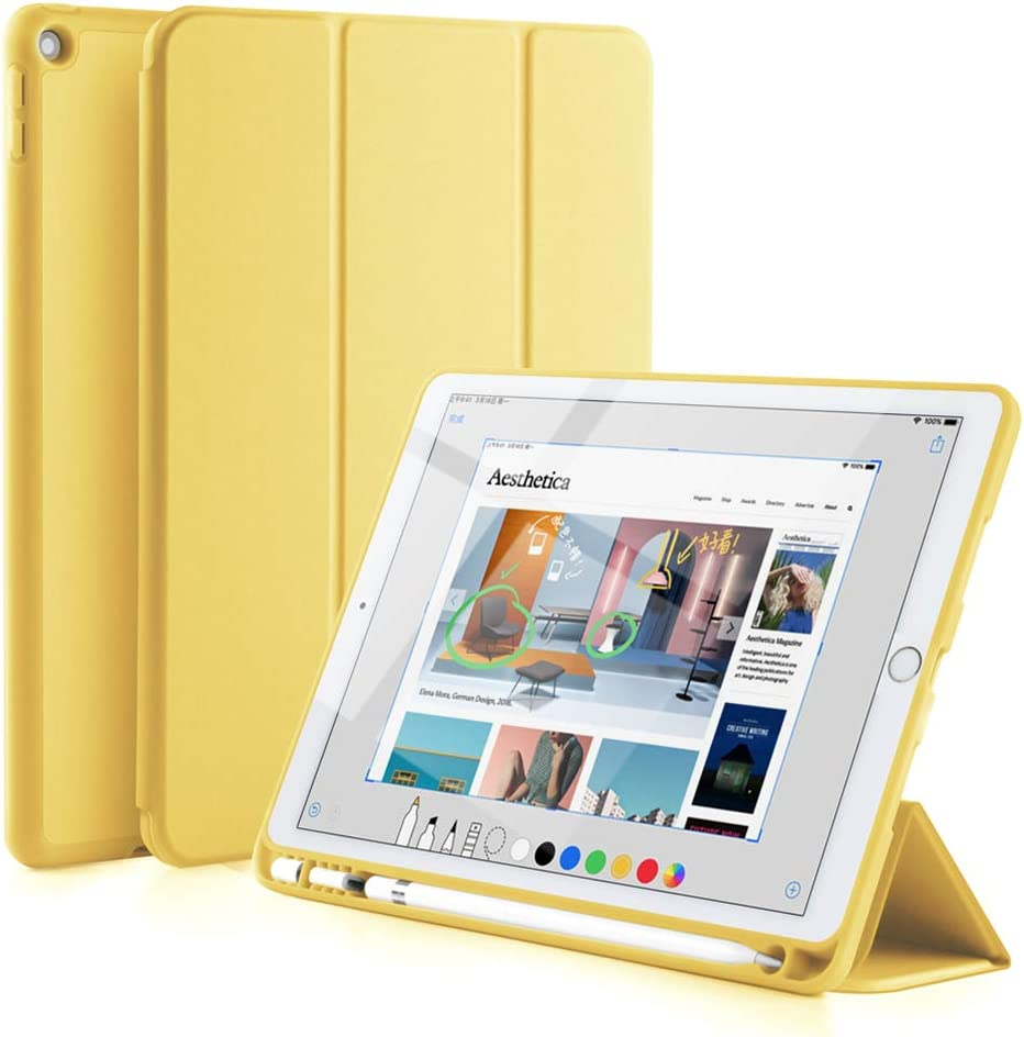 "GUDOU New iPad 2017/2018 Trifold Smart Case with Pencil Holder, Premium PU Leather+Soft Silicone Back Shell Stand Cover with Auto Sleep/Wake,Protective for Apple iPad 5th/6th Gen 9.7"" (Yellow)"
