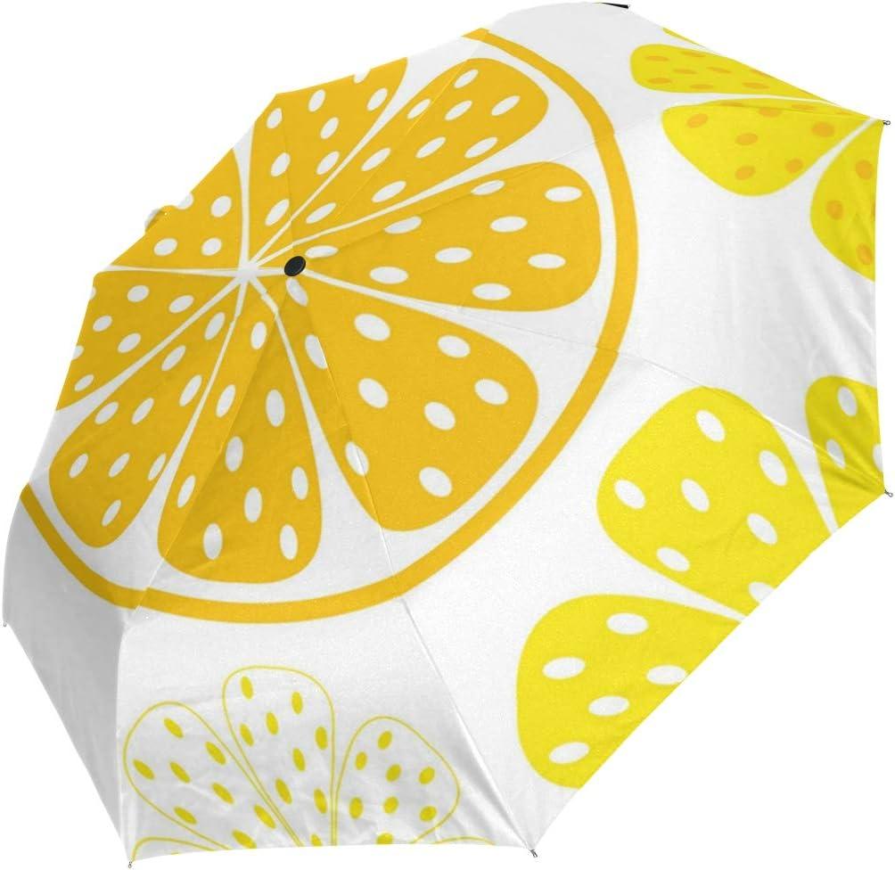 Waves Growing The Lemon fashion print cute Windproof automatic tri-fold umbrella sun UV protection Sun umbrella