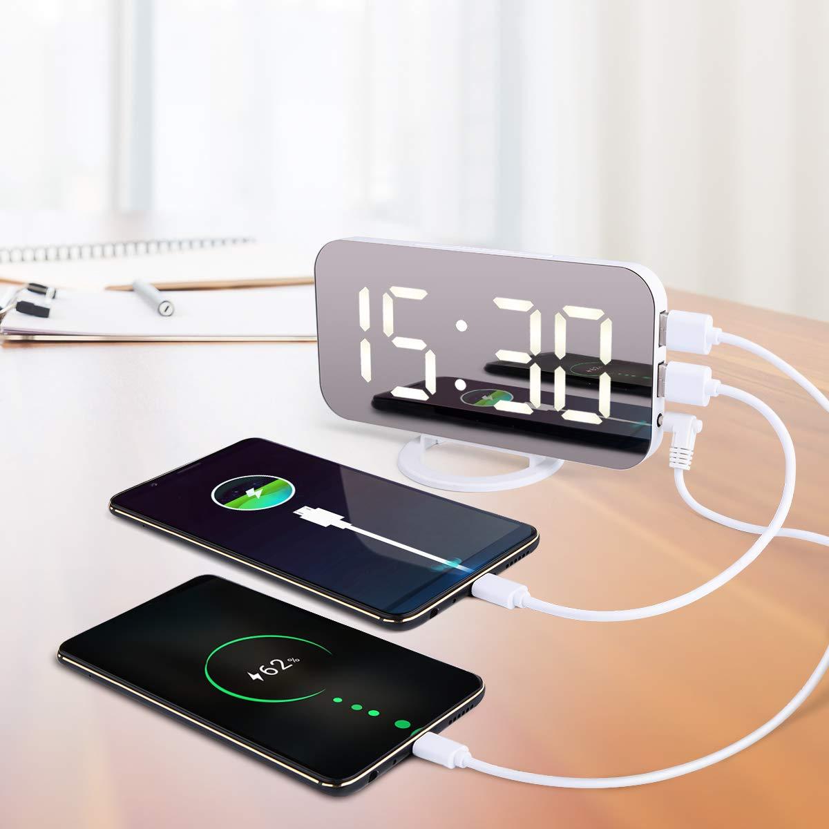 ACTOPP LED Réveil Numérique, Miroir Horlogue de Grand écran avec 3 Luminosités Réglables, Fonction Miroir Snooze et Double Ports USB pour Charger Téléphones