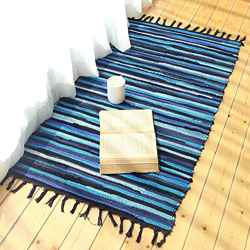 MeMoreCool Fashion Mediterranean Style Cotton Kitchen Oblong Shape Multi-Usage Knitting Carpet,Bedroom/Washroom/Bathroom Absorbent Doormat,28X47inch