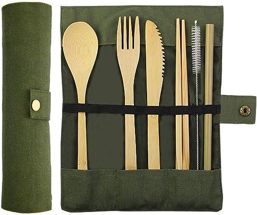Kbnian Juego de Cubiertos de Bambú, Set de 7pcs, Cubiertos para Llevar, Ideal para Viajes, Camping, Fiestas, Cocina Casera: Amazon.es: Hogar